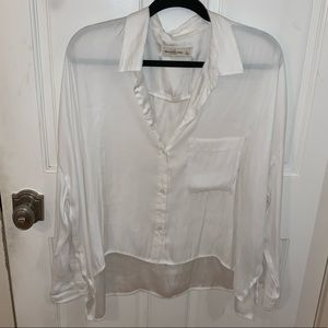 Abercrombie & Fitch Satin Oversized Button Down